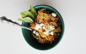 Mediterranean Shrimp Spaghetti Squash