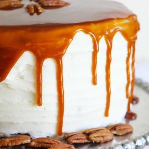 Pecan Vanilla Cake with Caramel Glaze