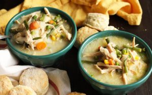 Chicken Pot Pie Soup with Buttermilk Biscuits