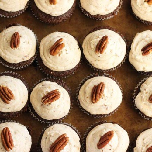 Mexican Chocolate Cupcakes with Cinnamon Pecan Buttercream