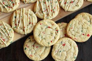 Christmas Sprinkle Sugar Cookies with White Chocolate Drizzle