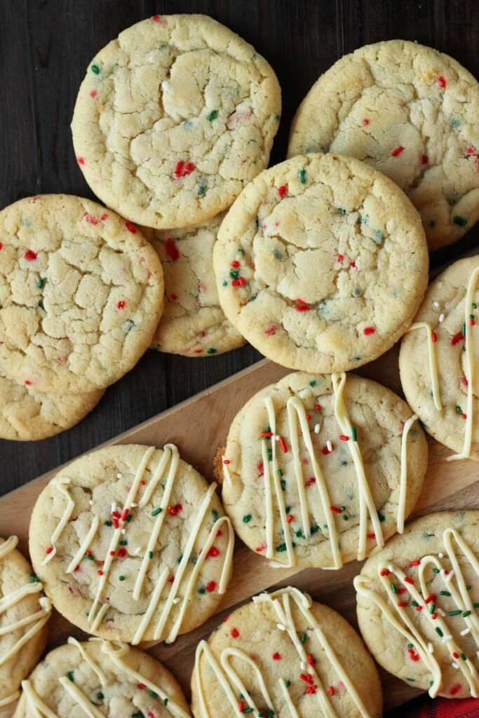 Sprinkle Sugar Cookies with White Chocolate Drizzle