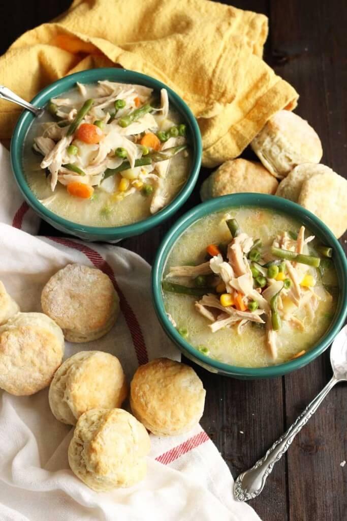 Chicken Pot Pie Soup with Buttermilk Biscuits