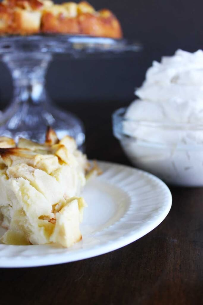 French Apple Cake with Whipped Creme Fraiche