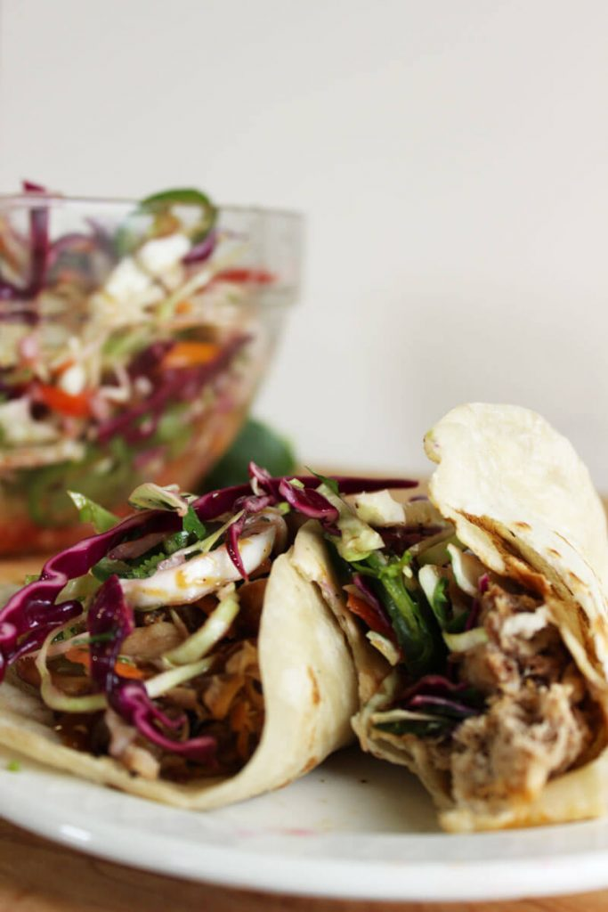 Barbecue Pulled Pork Taco with Crunchy Slaw