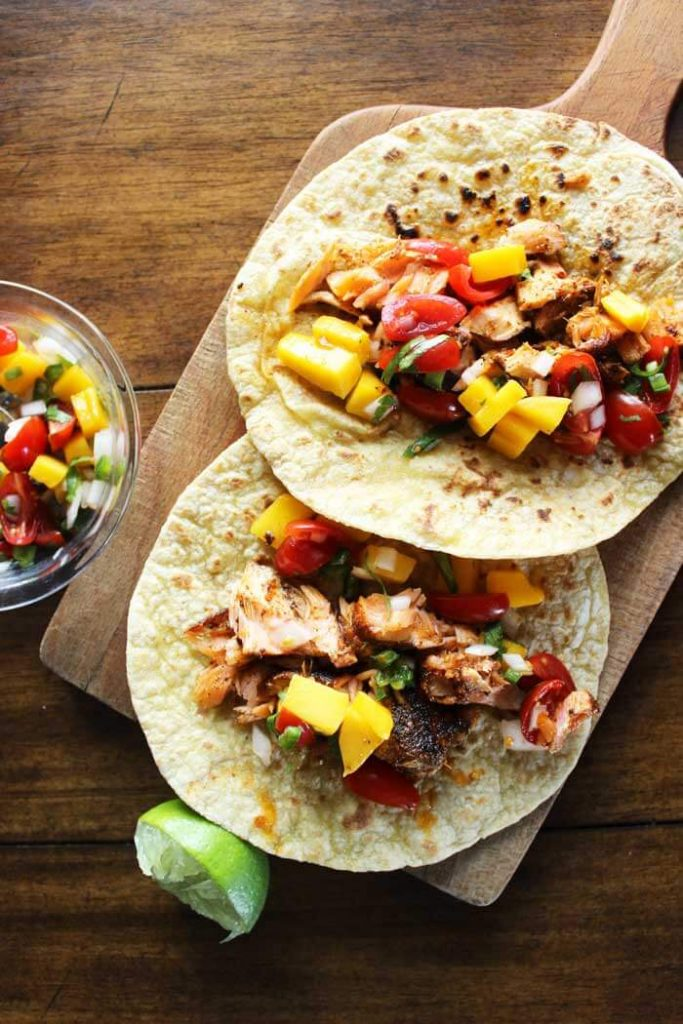 Blackened Salmon Tacos with Mango Pico