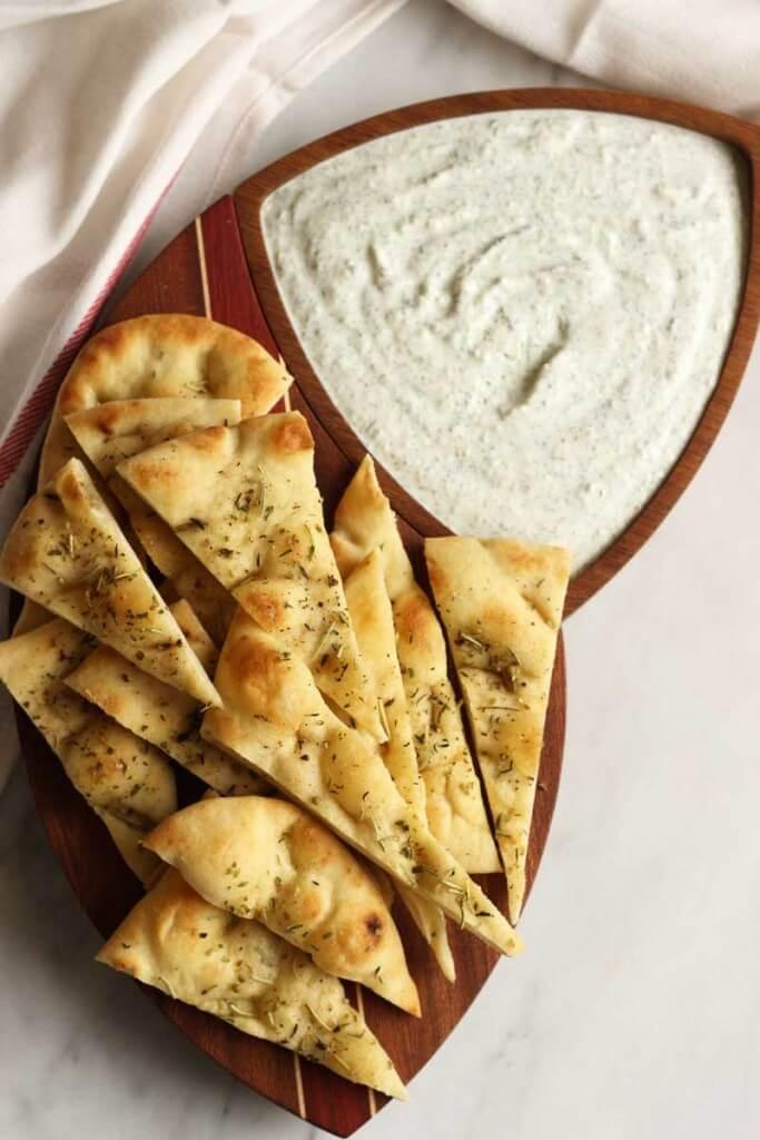 Easy Tzatziki with Herb-Roasted Flatbread
