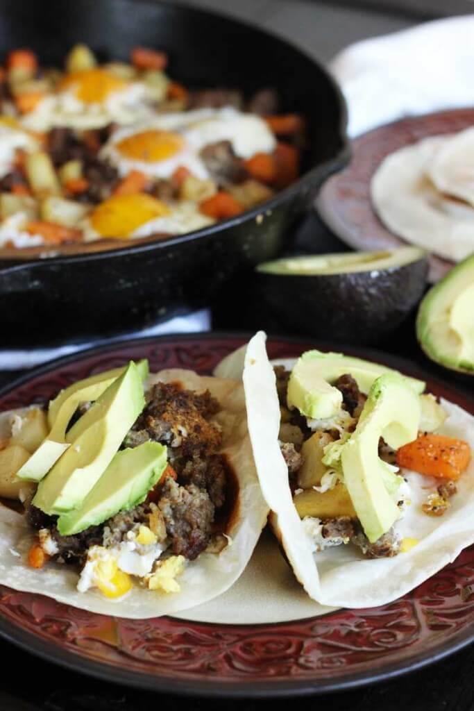 Potatoes and Sausage Hash Tacos