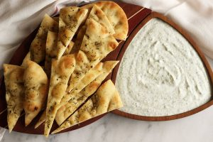 Easy Tzatziki with Herb-Roasted Flatbread