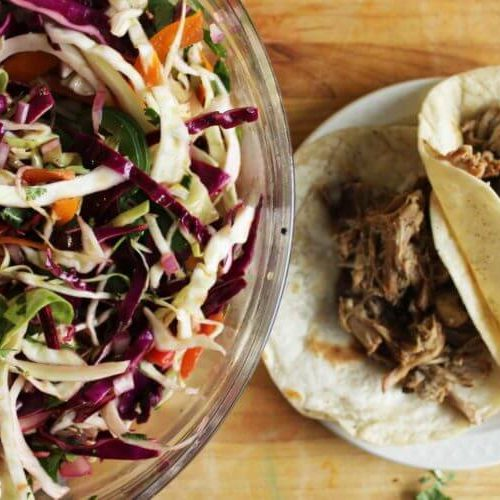 Barbecue Pulled Pork Tacos with Crunchy Slaw