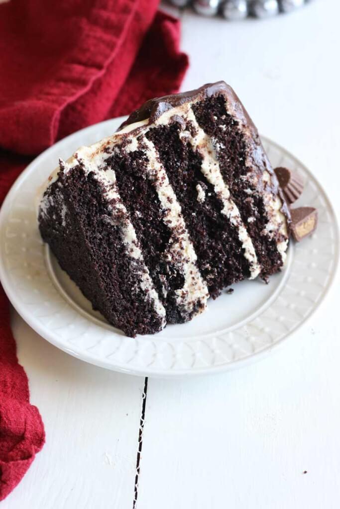 Chocolate Peanut Butter Cake with Chocolate Glaze