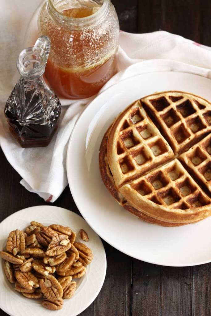 Honey Oat Waffles with Yogurt and Pecans
