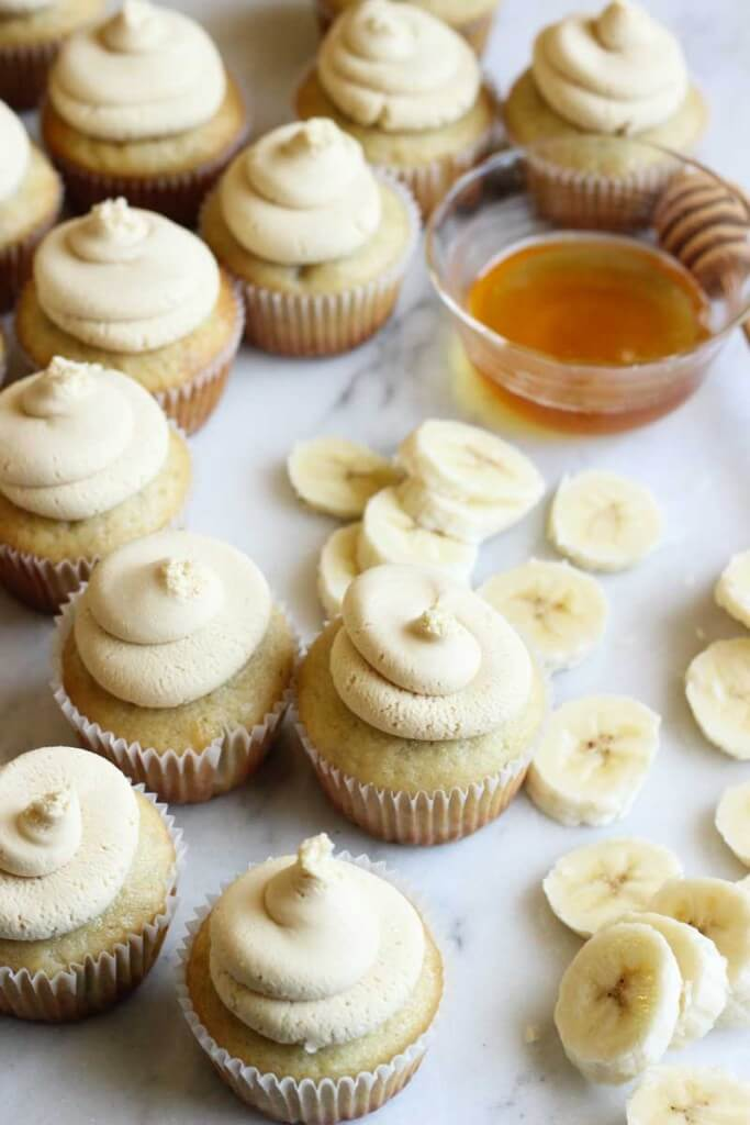 Banana Cupcakes with Honey Peanut Butter Frosting